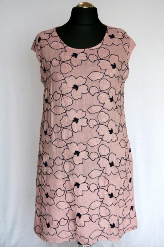 bded8d2037 Kék virágos ruha - Len- Vászon- Géz rövid ruhák :: Ruhakirály női ...